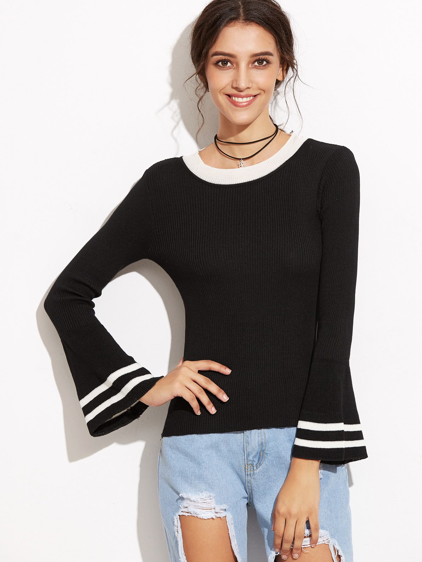 Black Bell Sleeve Contrast Trim Sweater sweater160901001