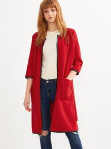 Red Self Tie Contrast Binding Collarless Coat