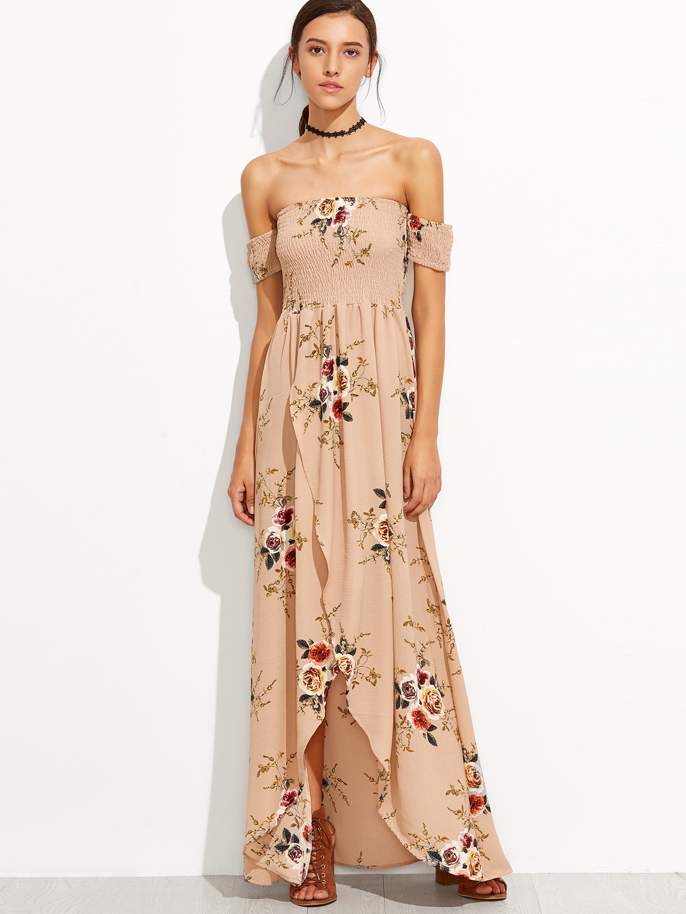 Bardot Florals Shirred Tulip Hem Dress Shein Sheinside