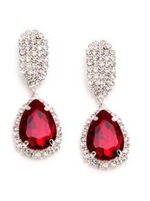 Red Rhinestone Encrusted Drop Earrings