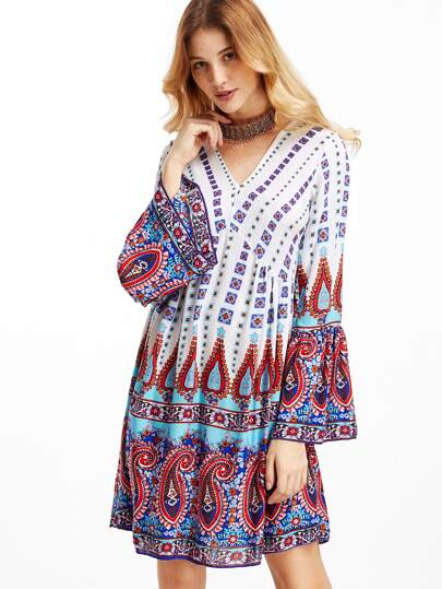 Paisley Print V Neck Bell Sleeve Dress