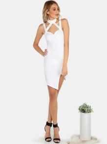 Halter Neck Bustier Asymmetrical Dress IVORY