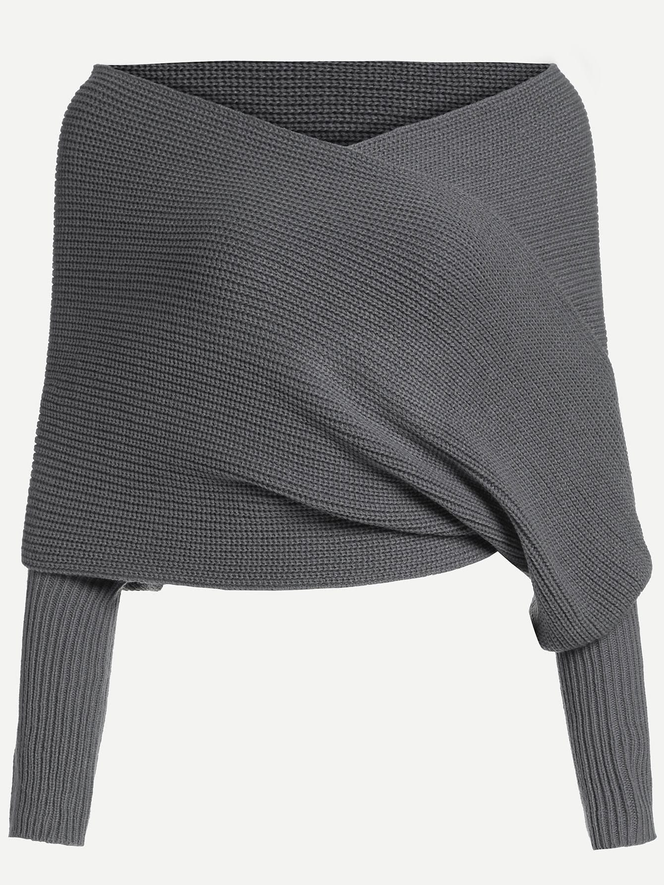 Dark Grey Off The Shoulder Sweater -SheIn(Sheinside)