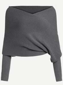 Dark Grey Off The Shoulder Sweater