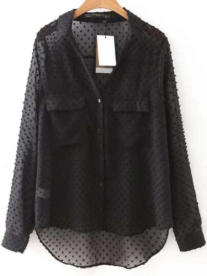 Dots Mesh Chest Pockets Dip Hem Blouse