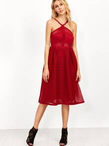 Burgundy Spaghetti Strap A Line Dress