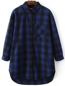 Blue Plaid Dip Hem Long Blouse With Pocket