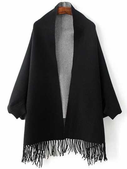Black Batwing Sleeve Fringe Hem Poncho Sweater