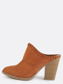Pointed Toe Stitched Chunky Heel Mules WHISKY