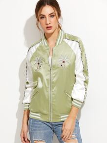 Green Coconut Tree Embroidery Bomber Jacket With Zipper