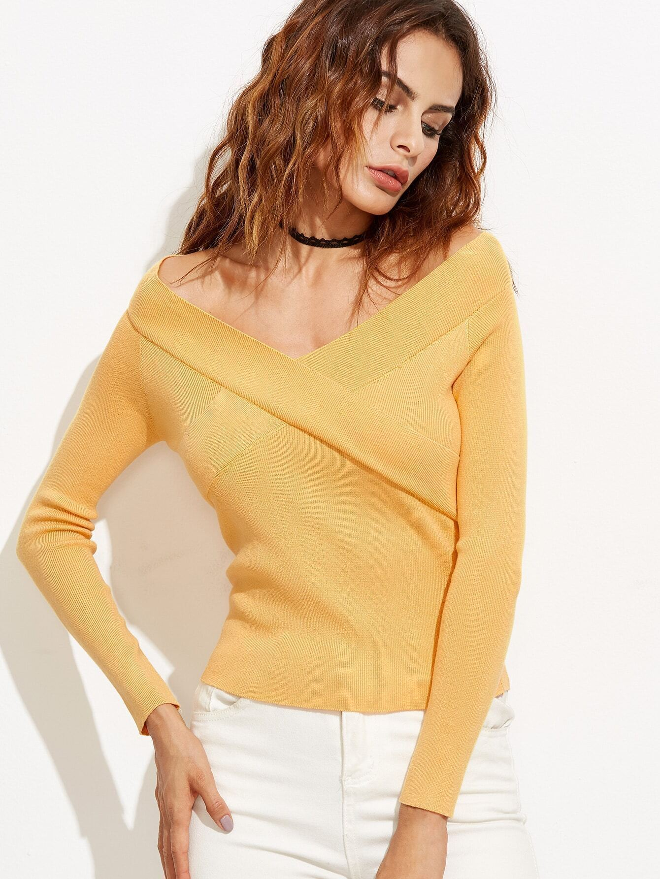 Yellow V Neck Sweater 42