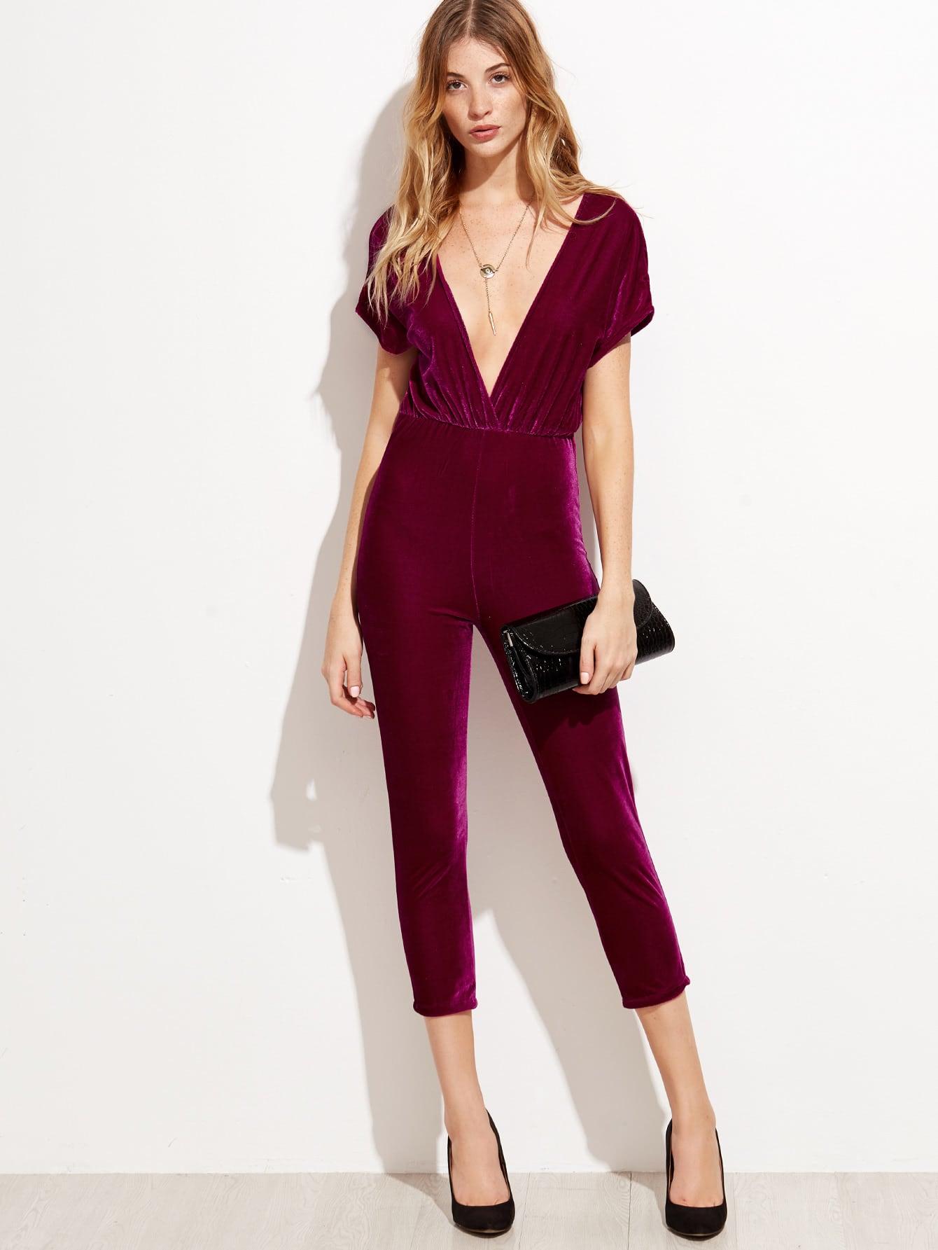 Deep V Neck Zipper Back Velvet Jumpsuit jumpsuit160919301