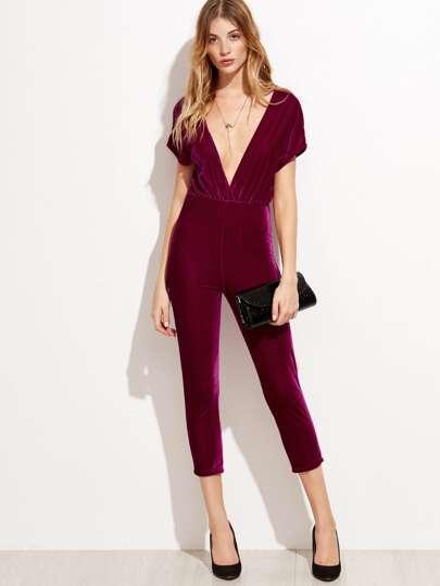 Plunge Neckline Zipper Back Velvet Jumpsuit