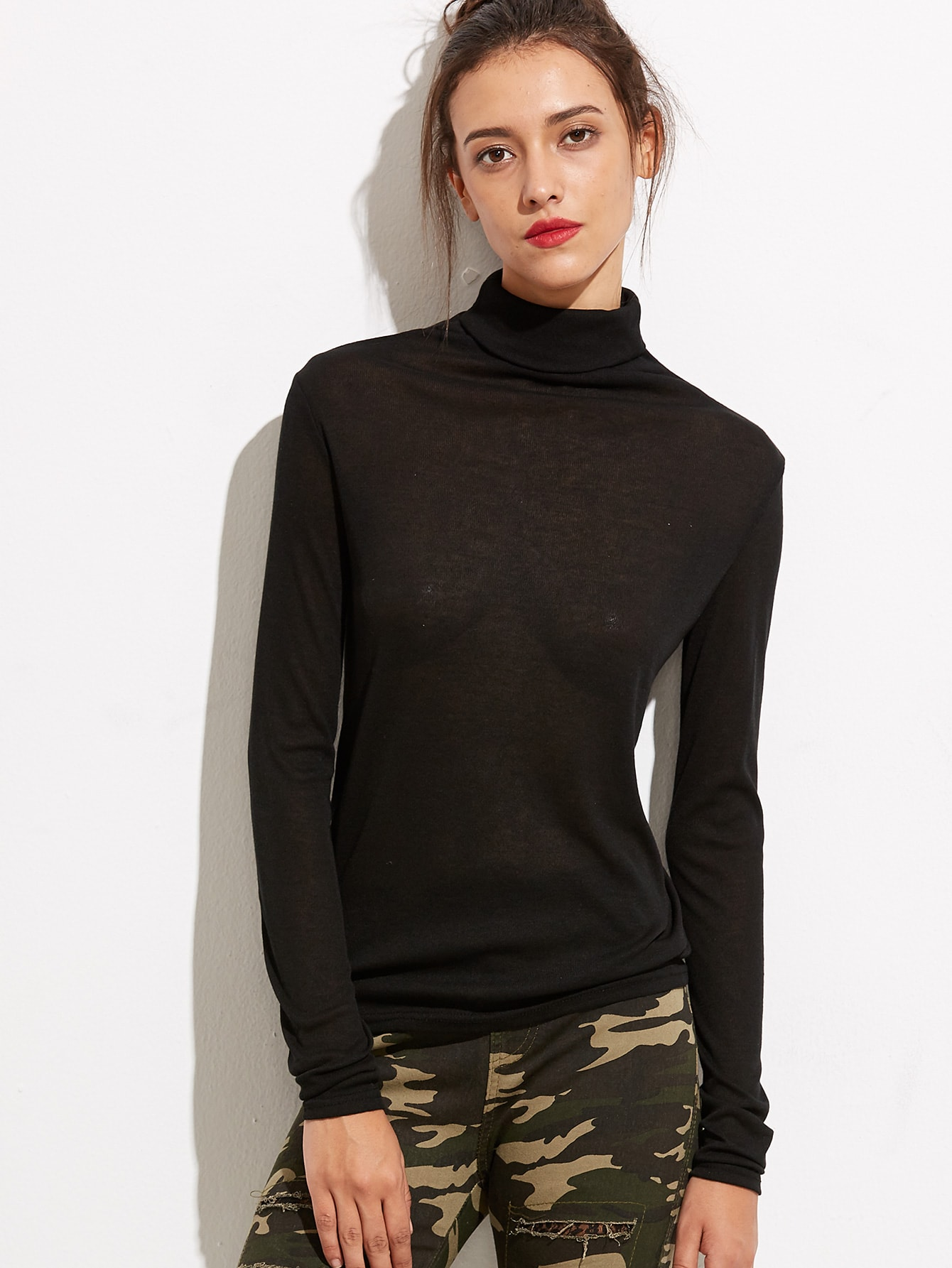 Black turtleneck long sleeve t shirt shein sheinside for Turtleneck under t shirt