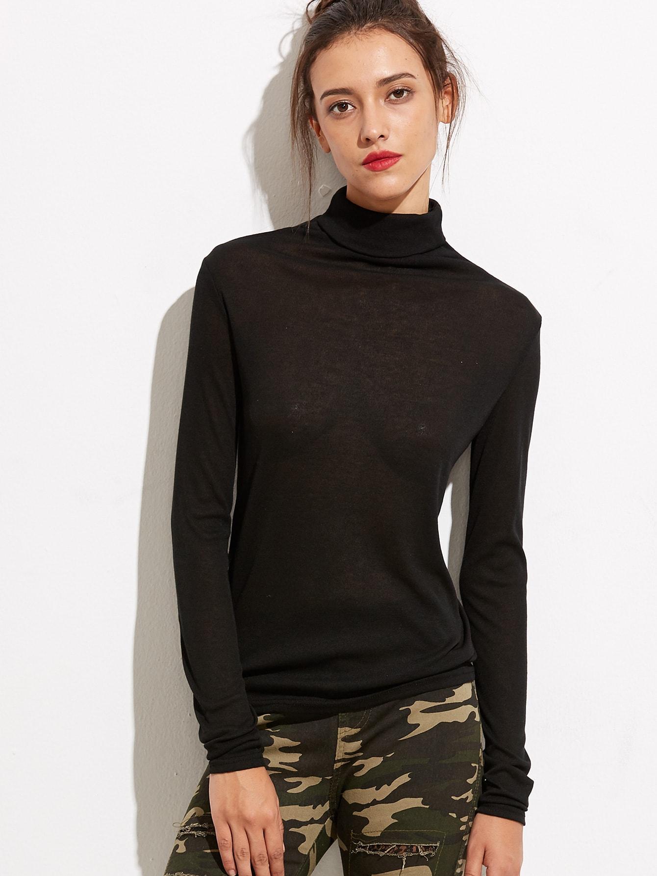 Black turtleneck long sleeve t shirt shein sheinside for Long sleeve black turtleneck shirt