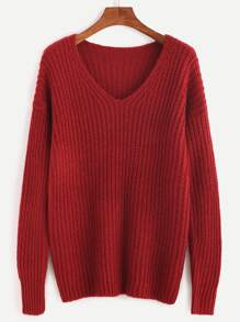 Red Ribbed Knit Drop Shoulder Sweater