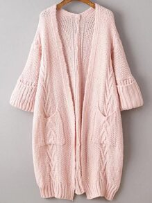 Pink Rolled Cuff Long Cardigan With Pockets