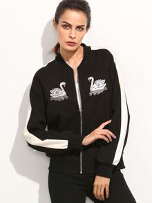 Black Striped Sleeve Swan Embroidered Bomber Jacket