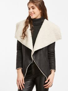 Black Faux Shearling Waterfall Collar Jacket