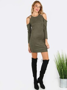 High Neck Sleeved Cold Shoulder Dress OLIVE
