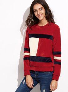 Color Block Raglan Sleeve Velvet Sweatshirt