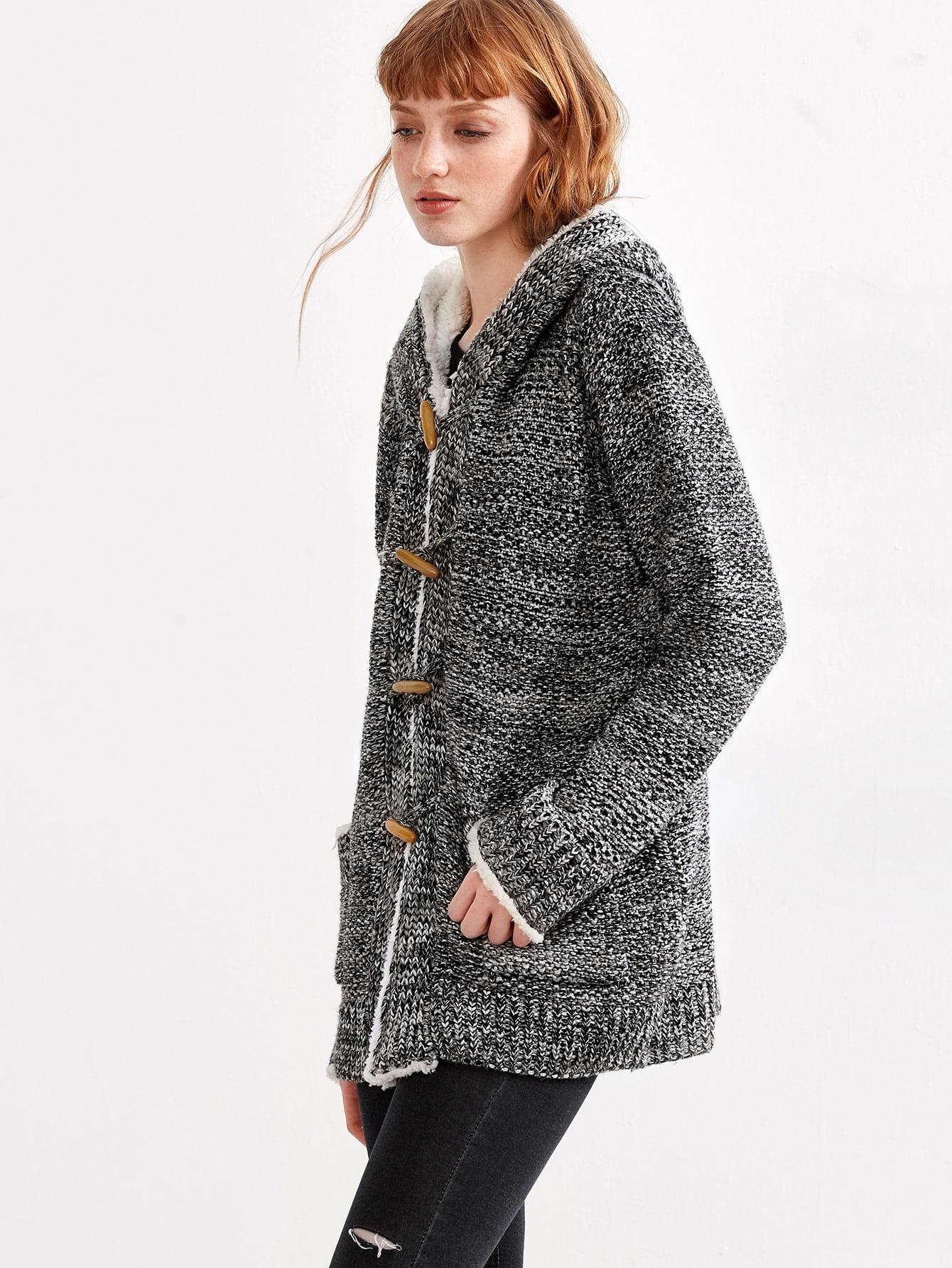 Grey Marled Knit Faux Shearling Neckline Duffle Sweater CoatGrey Marled Knit Faux Shearling Neckline Duffle Sweater Coat<br><br>color: Grey<br>size: one-size
