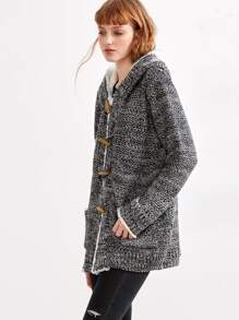 Grey Marled Knit Faux Shearling Neckline Duffle Sweater Coat