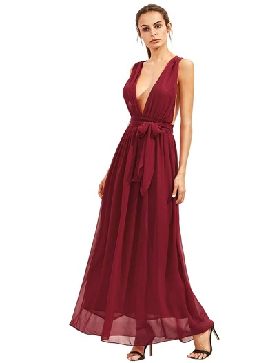 Burgundy Deep V Neck Self Tie Waist Maxi Dress