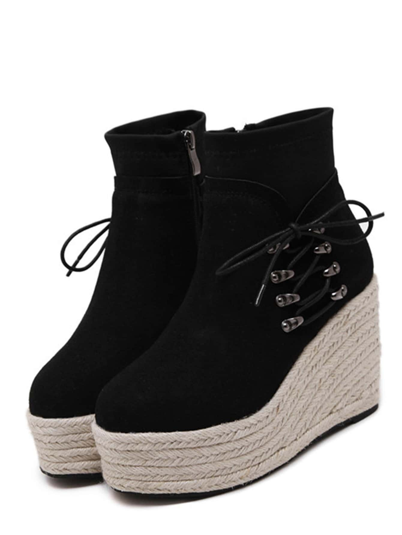 fb654d08509f Black Faux Suede Lace Up Espadrille Wedge Heel Boots -SheIn(Sheinside)  Platform .