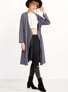 Drop Shoulder Drawstring Pocket Coat