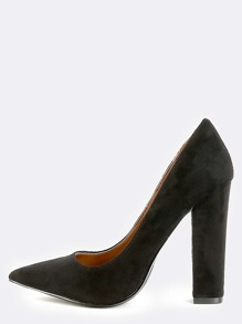 Pointy Toe Chunky Heel Pumps BLACK