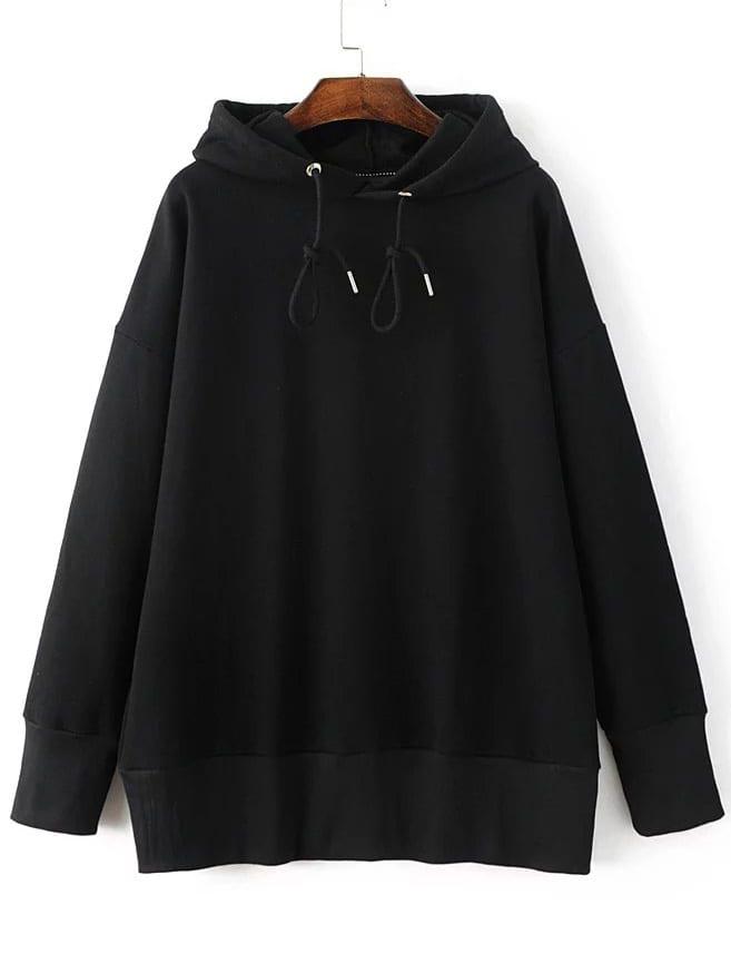 Black Drop Shoulder Hooded Loose Sweatshirt sweatshirt160926204