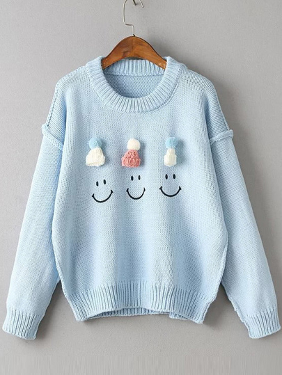 Hat Embellished Drop Shoulder Cute Sweater