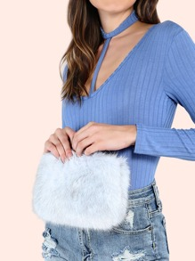 Faux Fur Chain Pouch Handbag GREY