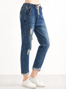 Blue Ripped Drawstring Roll Hem Jeans