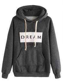 Letter Print Hooded Drawstring Sweatshirt