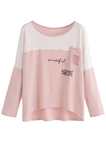 Pink Contrast Letters Print Pocket T-shirt