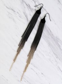 Metallic Fringe Ombre Earrings BLACK