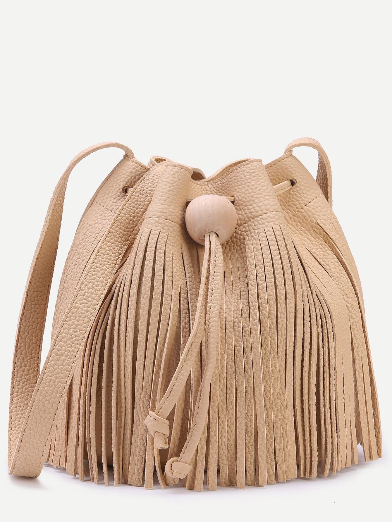 Khaki Pebbled PU Tassel Fringe Drawstring Bucket Bag