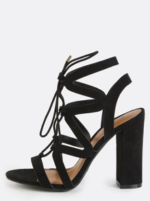 Strappy Lace Up Chunky Heels BLACK
