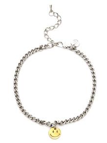 Silver Cutout Smiley Face Charm Bracelet