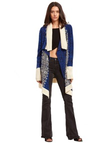 Royal Blue Lapel Long Cardigan