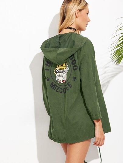 Abrigo con capucha y estampado de perro - verde militar