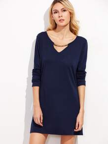 Navy Cut Out Metal Embellished Tee Dress