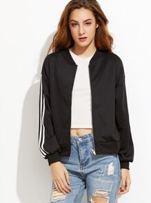 Black Drop Shoulder Striped Trim Bomber Jacket