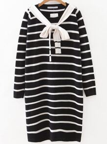 Black Striped Sweater Dress With Tie