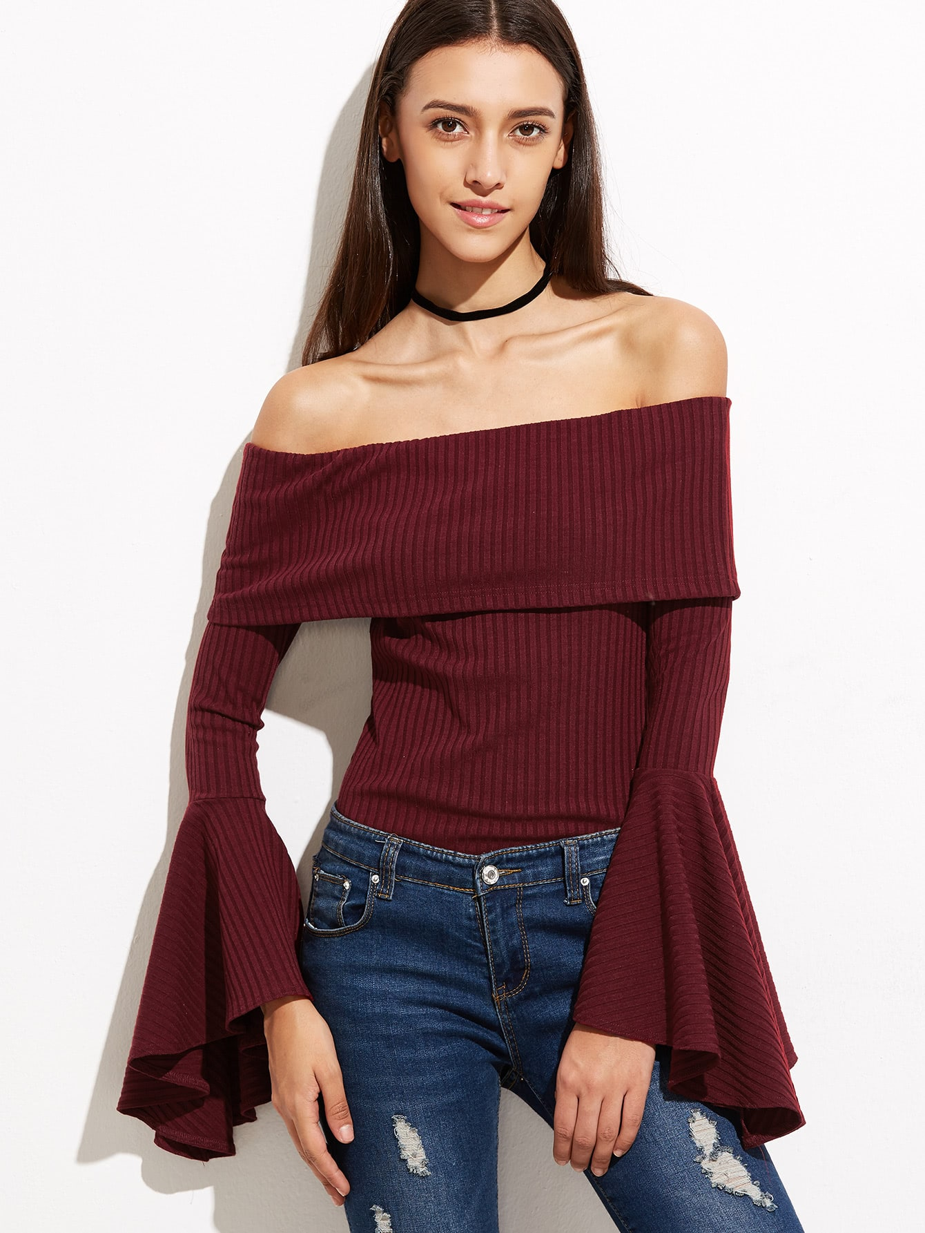 Burgundy Foldover Off The Shoulder Bell Sleeve Ribbed T-shirt tee160926703