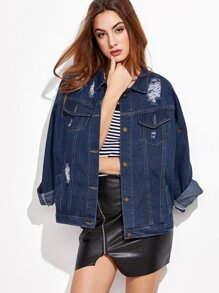 Jacket rotos y una botonadura denim - azul