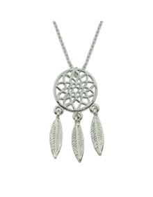 Silver Dream Catcher Pendant Necklace