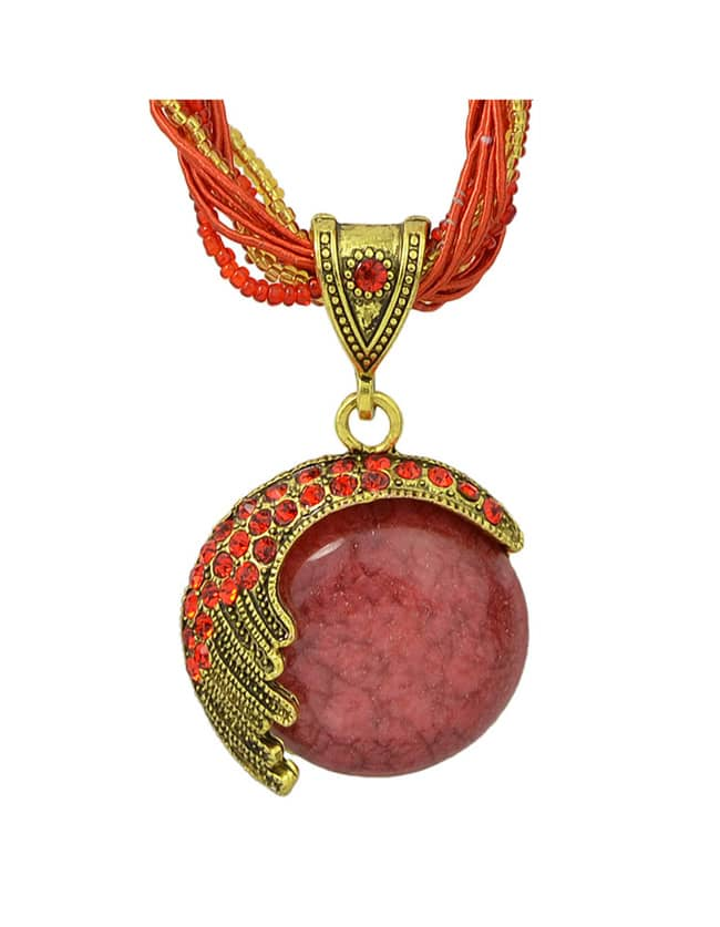 Red Beads Chain Pendant Necklace
